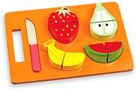 Нарежи плодовете - Детски дървен комплект с ножче за рязане - играчка