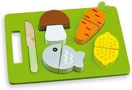 Нарежи обяда - Детски дървен комплект с ножче за рязане - кукла