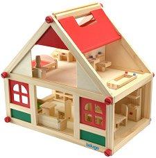 Дървена къща за кукли с аксесоари - детски аксесоар