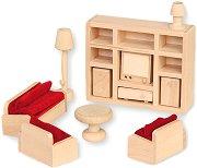 Дневна - Дървени мебели за кукленска къща - кукла