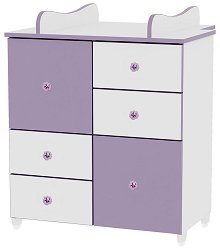 Детски шкаф - Цвят бял и лилав -