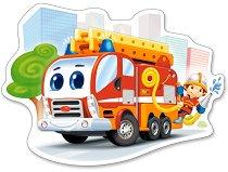 Противопожарна кола - Пъзел в нестандартна форма с едри елементи - пъзел