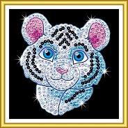 Направи сама картина с пайети - Бял тигър - Творчески комплект - продукт