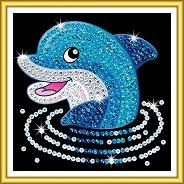 Направи сама картина с пайети - Делфин - Творчески комплект - детски аксесоар