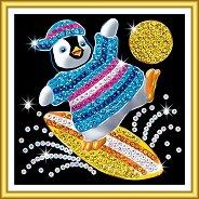 Направи сама картина с пайети - Пингвинче на сърф - Творчески комплект -