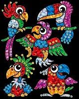 Направи сама картина с пайети и цветно фолио - Бебета папагали - Творчески комплект - хартиен модел