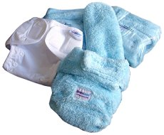 Бебешки комплект за преповиване - Teddy Nappy - Цвят бял и син -
