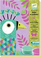 Оцветявай с цветен пясък - Блестящи пауни - Творчески комплект за рисуване - творчески комплект