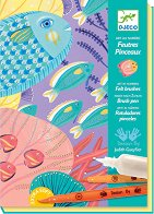 Оцветявай сам с флумастери и перлена боя - Морски свят - Творчески комплект за рисуване - играчка