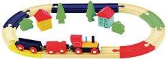 ЖП гара с влакче и аксесоари - Дървен комплект за игра от 21 части - играчка