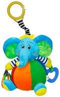 Син забавен слон - Плюшена играчка за детска количка или легло -