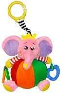 Розов забавен слон - Плюшена играчка за детска количка или легло - играчка