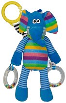 Дрънкалка - Шарено слонче - Плюшена играчка за детска количка или легло -