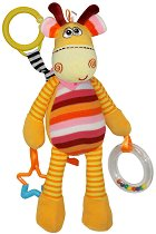 Дрънкалка - Шарено жирафче - Плюшена играчка за детска количка или легло -