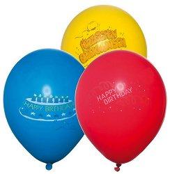 Парти балони - Happy Birthday - Комплект от 6 броя -