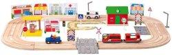 Дървено влакче с релси и колички - Град - Детски комплект за игра -