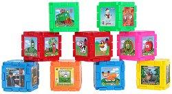 Детски образователен конструктор - Кубчета - С азбука и картинки - кукла