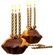 Златисти свещи с държачи - Парти аксесоар - играчка