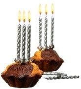 Сребристи свещи с държачи - Парти аксесоар -