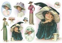 Декупажна хартия - Дама с шапка - Размери 48 x 33 cm