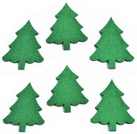 Фигурки от филц - Зелени елхички - Комплект от 6 броя с височина 8 cm