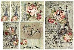 Декупажна хартия - Пътуване до Франция - Размери 48 x 33 cm