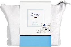 Подаръчен комплект с несесер - Dove Beauty Collection - Душ гел, мляко за тяло, крем сапун, дезодорант и шампоан - гъба за баня