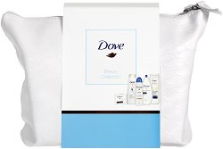 Подаръчен комплект с несесер - Dove Beauty Collection - Душ гел, мляко за тяло, крем сапун, дезодорант и шампоан -