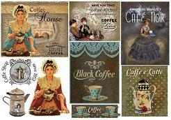 Декупажна хартия - Черно кафе - Размери 48 x 33 cm