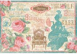 Декупажна хартия - Дама Версай - Размери 48 x 33 cm