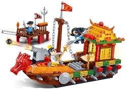 """Лодка - Могъщият дракон - Детски конструктор от серията """"Tang Dynastie"""" - творчески комплект"""