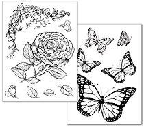 Трансферна хартия - Рози и пеперуди - Опаковка от 2 листа с формат А4