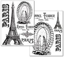 Трансферна хартия - Айфелова кула и Виенско колело - Опаковка от 2 листа с формат А4