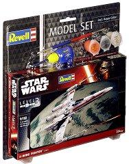 """Космически изтребител - X-Wing Fighter - Сглобяем модел от серията """"Revell: Star Wars"""" - комплект с лепило и боички -"""