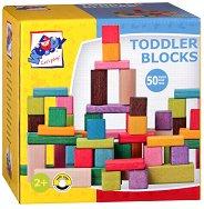 Детски дървен конструктор - 50 цветни части - играчка