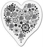 Силиконов печат - Сърце с цветя - Размер 5 x 6 cm - пънч