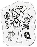Силиконов печат - Дърво с птички - Размер 5 x 6 cm -