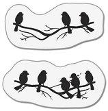 Силиконови печати - Птички на клонка - Размер 5 x 6 cm -