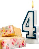 Свещичка за рожден ден - цифра 4 - играчка