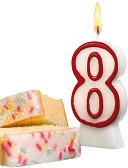 Свещичка за рожден ден - цифра 8 - играчка