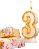 Свещичка за рожден ден - цифра 3 - Парти аксесоар -