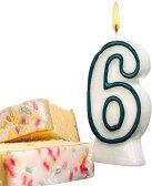 Свещичка за рожден ден - цифра 6 - Парти аксесоар - детски аксесоар
