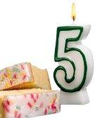 Свещичка за рожден ден - цифра 5 - детски аксесоар