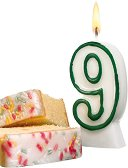 Свещичка за рожден ден - цифра 9 - Парти аксесоар -