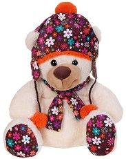 Мече със зимна шапка и шал - Плюшена играчка -