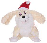 Заек с коледна шапка - Плюшена играчка - играчка