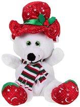 Бяло коледно мече с шапка и шал - Плюшена играчка - играчка