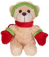 Коледно мече с ръкавици - Плюшена играчка - играчка