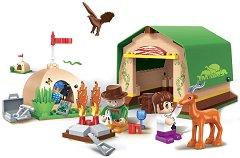 """Палатков лагер сред дивата природа - Детски конструктор от серията """" Safari"""" - играчка"""