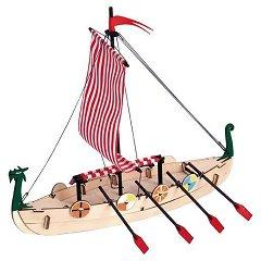 Дракар - Viking Boat - Сглобяем модел от дърво за деца - комплект с четка и боички -
